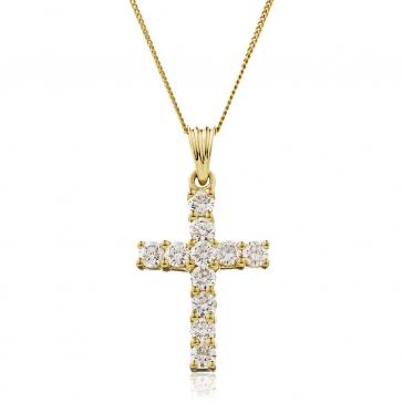 Diamond Cross Necklace 1.00ct, 18k Gold