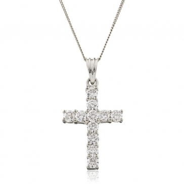 Diamond Cross Necklace 18k White Gold, 1.00ct G/SI1
