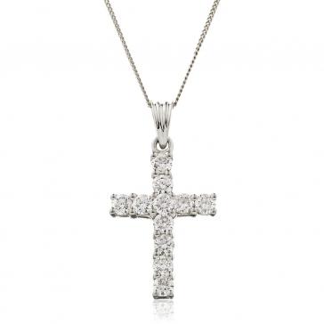 Diamond Cross Necklace 18k White Gold, 1.00ct H/SI