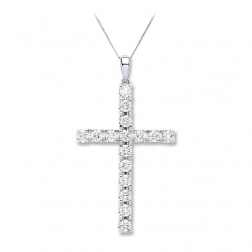 Diamond Cross Necklace 1.70ct, 18k White Gold