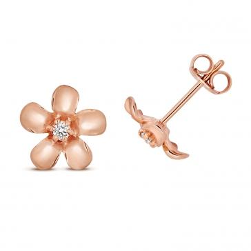 Diamond Daisy Stud Earrings 0.05ct, 9k Rose Gold