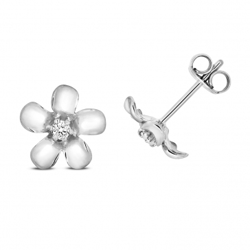 Diamond Daisy Stud Earrings 0.05ct, 9k White Gold