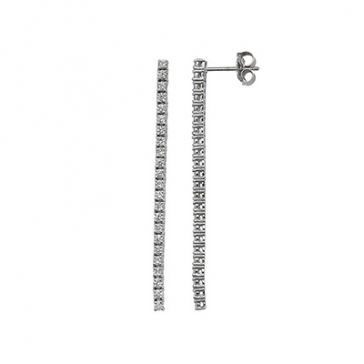 Diamond Drop Line Earrings 1.11ct, 18k White Gold