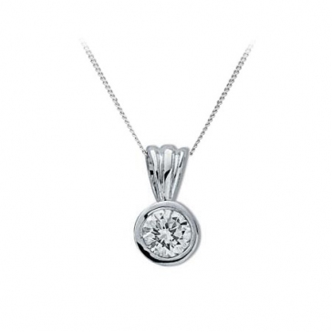 Diamond Rub-Over Drop Pendant 0.25ct, White Gold