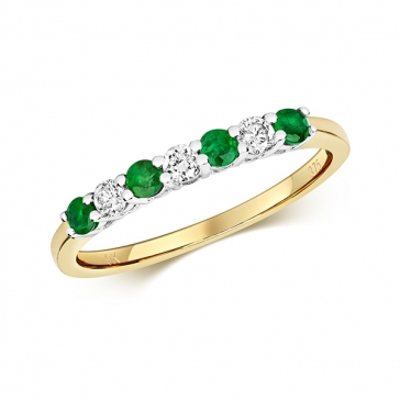 Diamond & Emerald 7 stone ring, 0.38ct, 9k Gold