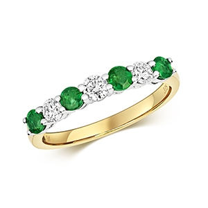 Diamond & Emerald 7 stone ring, 0.72ct, 9k Gold