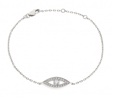Diamond Eye Pendant Bracelet 0.35ct, 18k White Gold
