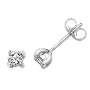 Diamond Four Claw Stud Earrings 0.40ct, 18k White Gold