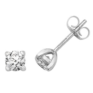 Diamond Four Claw Stud Earrings 0.75ct, 18k White Gold