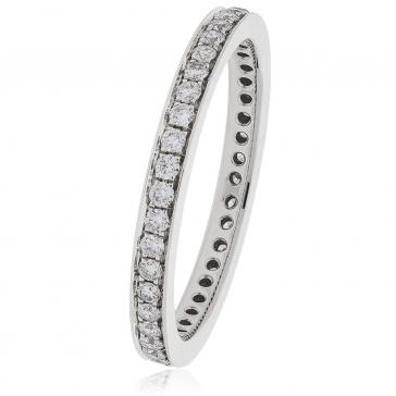 Diamond Full Eternity Ring 0.80ct Bead Set, 18k White Gold