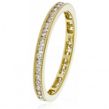 Diamond Full Eternity Ring Channel Set 0.50ct, 18k Gold