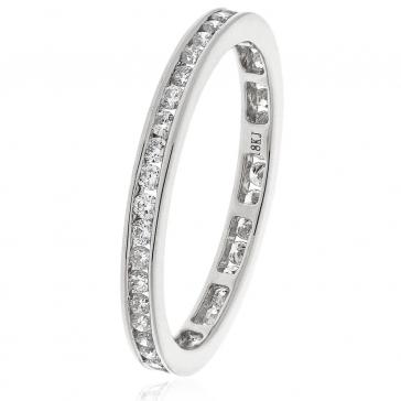 Diamond Full Eternity Ring Channel Set 0.50ct, 18k White Gold