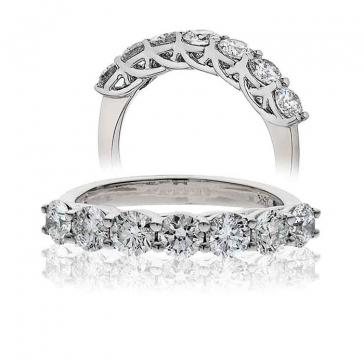 Diamond Half Eternity 7 Stone Ring 0.50ct, 18k White Gold