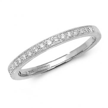 Diamond Half Eternity Ring With Milgrain 0.12ct. 9k White Gold