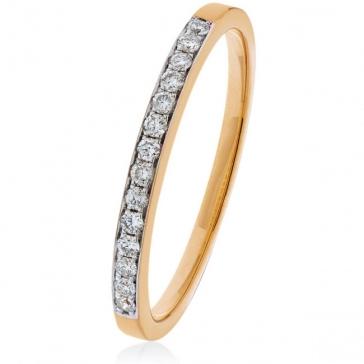 Diamond Half Eternity Ring 0.20ct, 9k Rose Gold