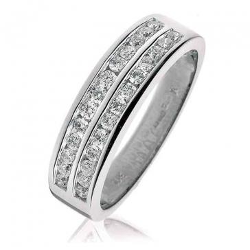 Diamond Half Eternity Ring 0.50ct, 18k White Gold
