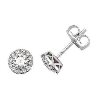 Diamond Halo Earrings 0.68ct, 18k White Gold