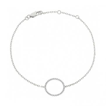 Diamond Halo Pendant Bracelet 0.15ct, 18k White Gold