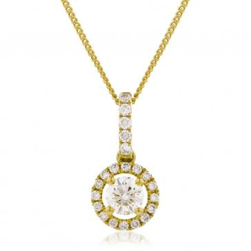 Diamond Halo Pendant Necklace 0.40ct, 18k Gold