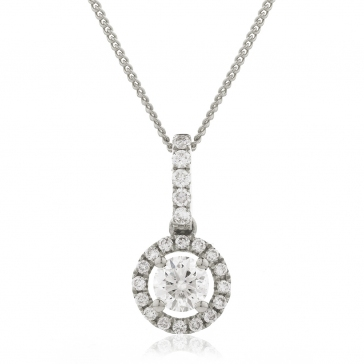 Diamond Halo Pendant Necklace 0.40ct, 18k White Gold