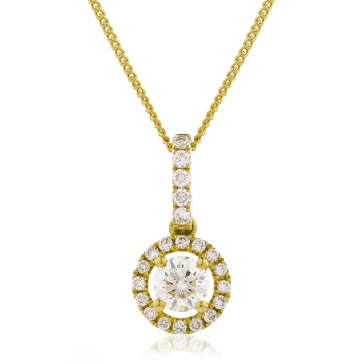 Diamond Halo Pendant Necklace 0.60ct, 18k Gold