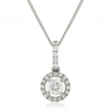 Diamond Halo Pendant Necklace 0.60ct, 18k White Gold