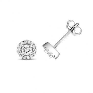 Diamond Halo Stud Earrings 0.26ct. 9k White Gold