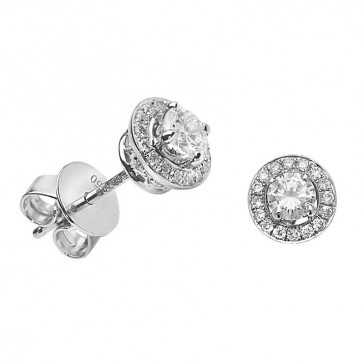 Diamond Halo Stud Earrings 0.55ct, 18k White Gold