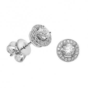 Diamond Halo Stud Earrings 0.70ct, 18k White Gold