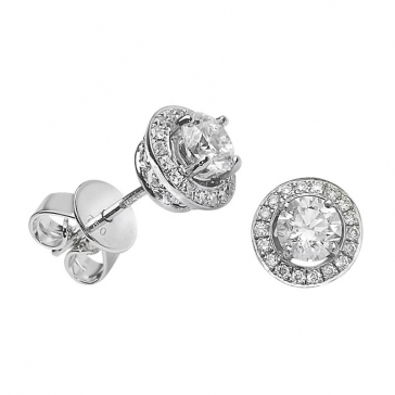 Diamond Halo Stud Earrings 0.92ct, 18k White Gold