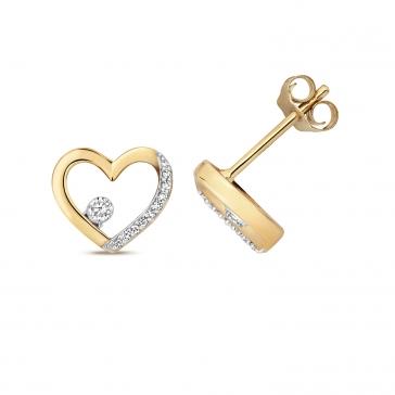 Diamond Heart Stud Earrings 0.08ct. 9k Gold