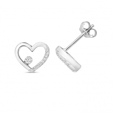 Diamond Heart Stud Earrings 0.08ct. 9k White Gold