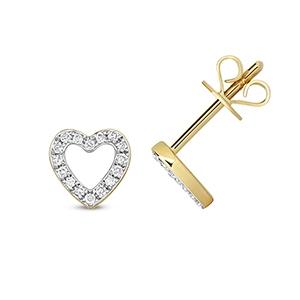 Diamond Heart Stud Earrings 0.12ct, 9k Gold