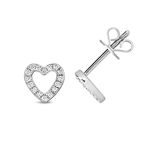 Diamond Heart Stud Earrings 0.12ct, 9k White Gold