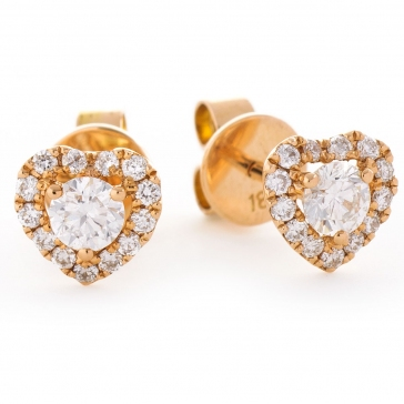 Diamond Heart Stud Earrings 0.60ct, 18k Rose Gold