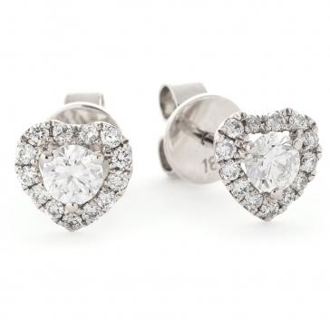 Diamond Heart Stud Earrings 0.60ct, 18k White Gold