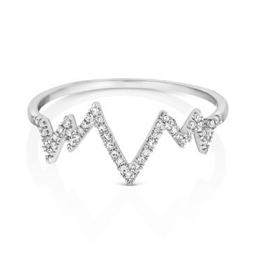 Diamond Heartbeat Half Eternity Ring 0.09ct. 9k White Gold
