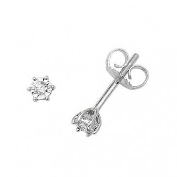 Diamond Illusion Set Stud Earrings 0.05ct, 9k White Gold