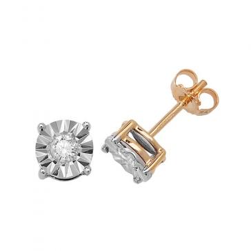 Diamond Illusion Set Stud Earrings 0.31ct, 9k Gold