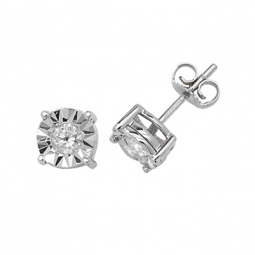 Diamond Illusion Set Stud Earrings 0.31ct, 9k White Gold
