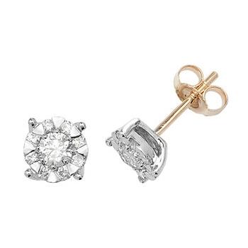 Diamond Illusion Set Stud Earrings 0.60ct, 9k Gold
