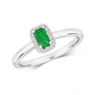 Emerald & Diamond Ring, Emerald Cut 0.37ct. 9k White Gold