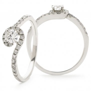 Diamond Pave Engagement Ring 0.50ct, 18k White Gold