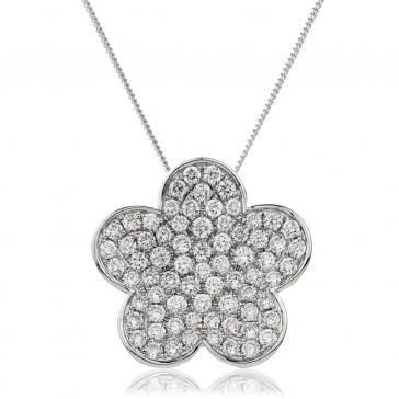 Diamond Pave Flower Pendant Necklace 1.00ct, 18k White Gold