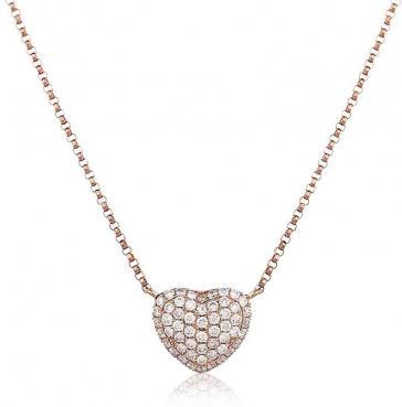 Diamond Pave Heart Necklace, 18k Rose Gold