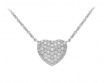Diamond Pave Heart Necklace, 18k White Gold