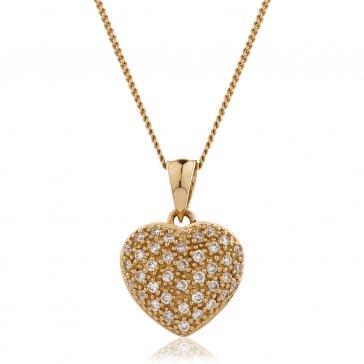 Diamond Pavé Heart Pendant 0.20ct, 18k Rose Gold