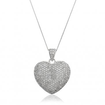 Diamond Pavé Heart Pendant 1.00ct, 9k White Gold