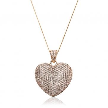 Diamond Pavé Heart Pendant 1.00ct, 9k Rose Gold