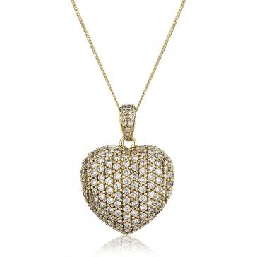 Diamond Pavé Heart Pendant 1.45ct, 18k Gold